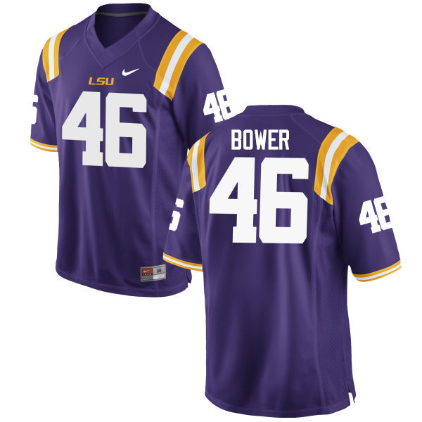 Men LSU Tigers #46 Tashawn Bower College Football Jerseys Game-Purple